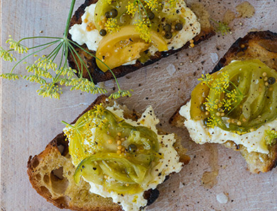 Ricotta Grilled Breads with Pickled Green Tomatoes