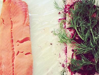 Beet-Cured Gravlax