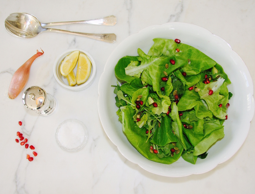 Winter Salad with Pomegranate Seeds