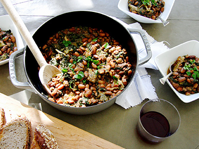 Bean Stew with Kale & Escarole