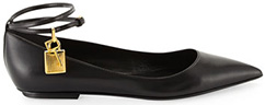 TOM FORD Leather Ballerina Flat with Lock