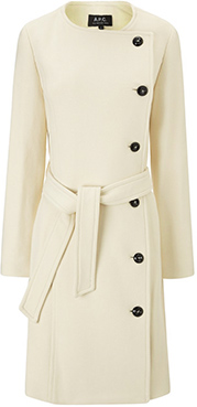 A.P.C. Cream Cotton Belted Nora Coat