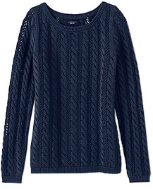 LANDS' END Drifter Cable Pointelle Sweater
