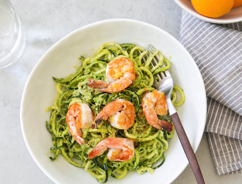 Zucchini Linguine with Fava Bean Pesto and Grilled Shrimp