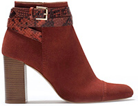 ZARA Leather High-Heeled Ankle Boot