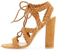GIANVITO ROSSI Braided Suede Tie Sandal