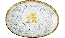 G Initial Engraved Gold Trim Western Belt Buckle, Country Outfitter
