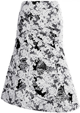Thom Browne Toile and Lace Flared Front Skirt