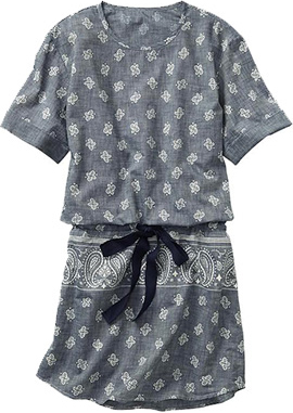 Bandana chambray drop-waist dress, Gap