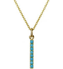 Exclusive long bar pendant with semi precious stone turquoise (december), goop.com