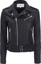 Galaxy Belted Hem Moto Leather Jacket