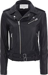 Galaxy Belted Hem Moto Leather Jacket