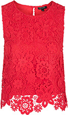 Topshop Lace Crochet Shell Top