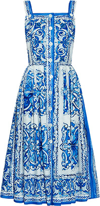 Dolce & Gabbana Majolica Print Cotton Dress