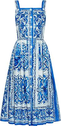 Dolce & Gabbana Majolica Print Cotton Dress