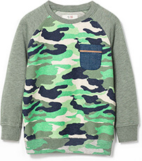 Boys Contrast Pocket Camouflage Sweater