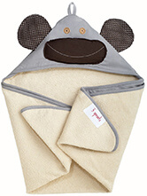3 Sprouts Hooded Grey Milo Monkey Towel