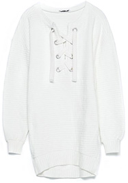 SWEATSHIRT WITH TIE-NECK DETAIL