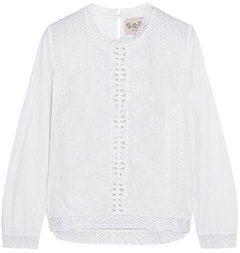 SEA Embroidered cotton-blend top