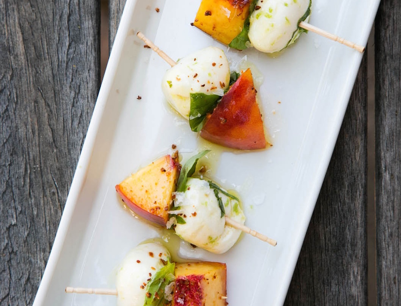 Peach and Mozzarella Skewers with Basil and Lime