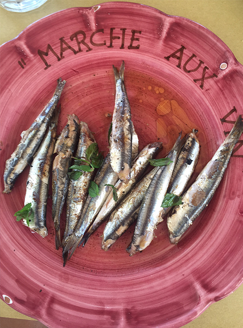 Fresh sardines at Da Adolfo.