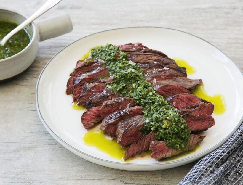 Grilled Bavette or Hanger Steak with Uruguayan Chimichurri