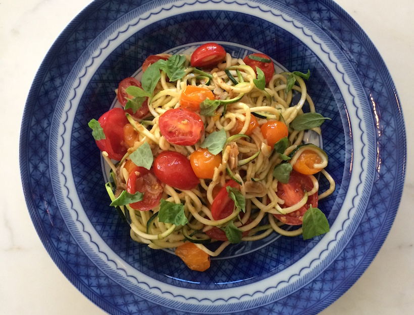 "Late Summer ""Zoodles"" with Cherry Tomatoes"