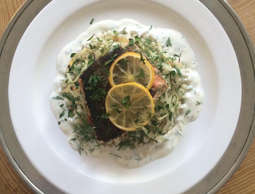 Baked Salmon with Herbed Yogurt Sauce, Caramelized Lemon & Couscous
