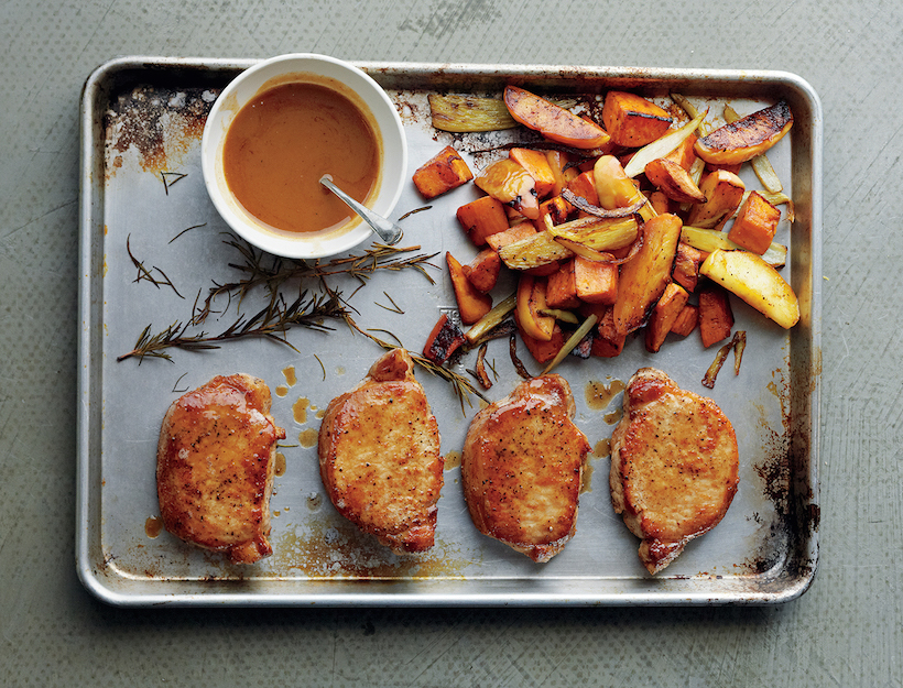 Cider-Dijon Pork Chops with Roasted Sweet Potatoes & Apples