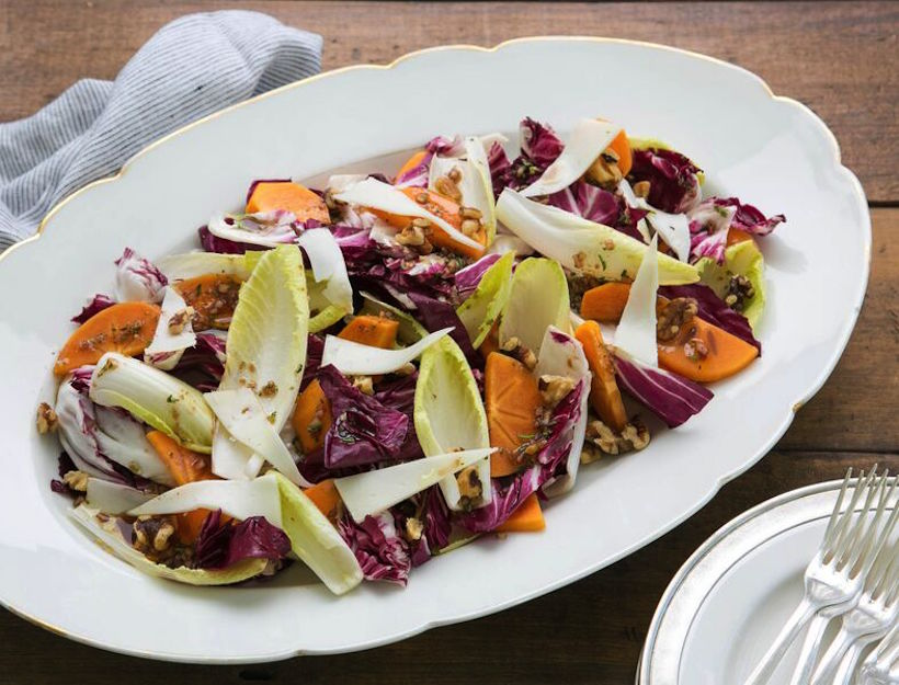 Chicory and Persimmon Salad with Rosemary Vinaigrette
