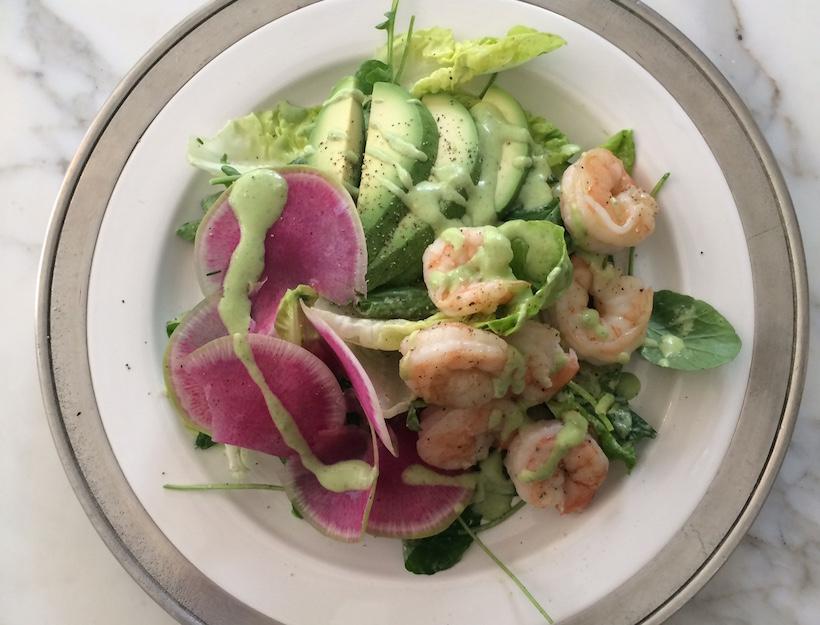 Little Gem Salad with Roasted Shrimp