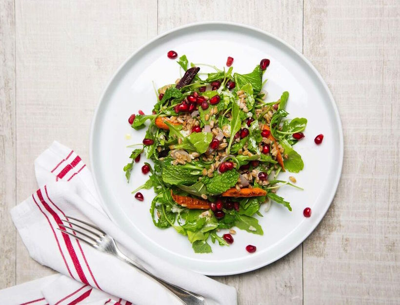 Farro, Roasted Carrot & Pomegranate Salad