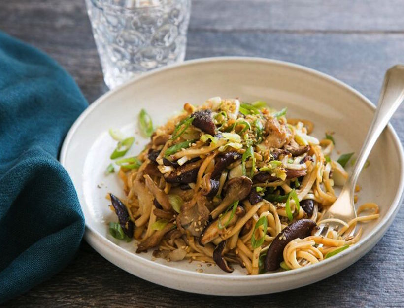 Stir-Fried Noodles with Mushrooms