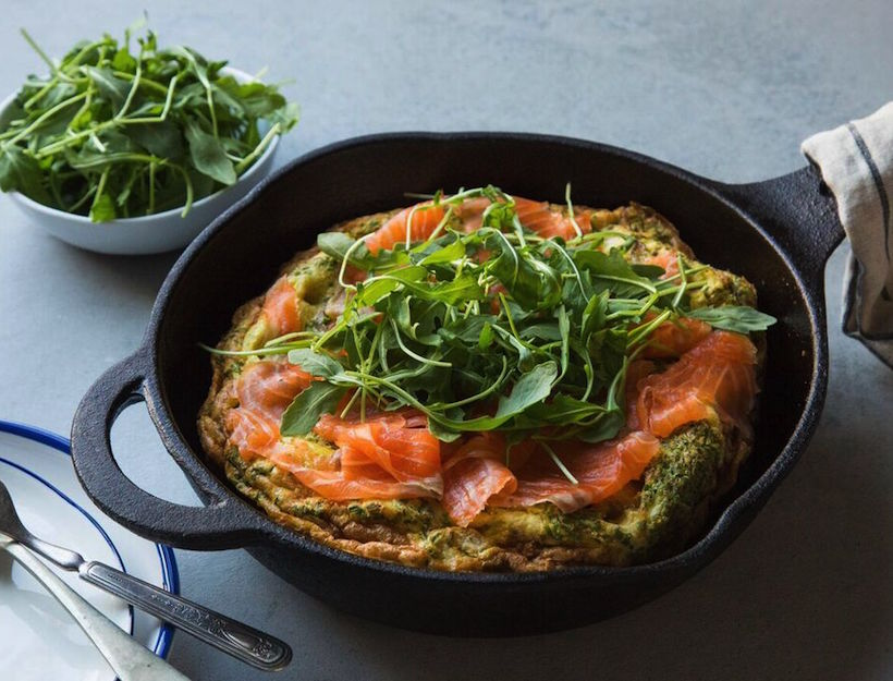 Roasted Potato & Chive Frittata with Smoked Salmon & Arugula