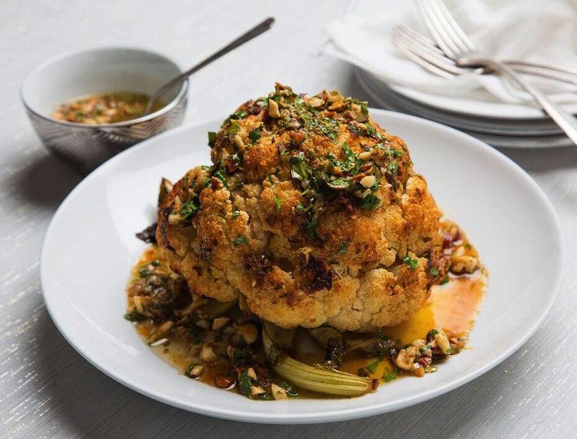 Whole Roasted Cauliflower with Hazelnut and Sherry Beurre Noisette