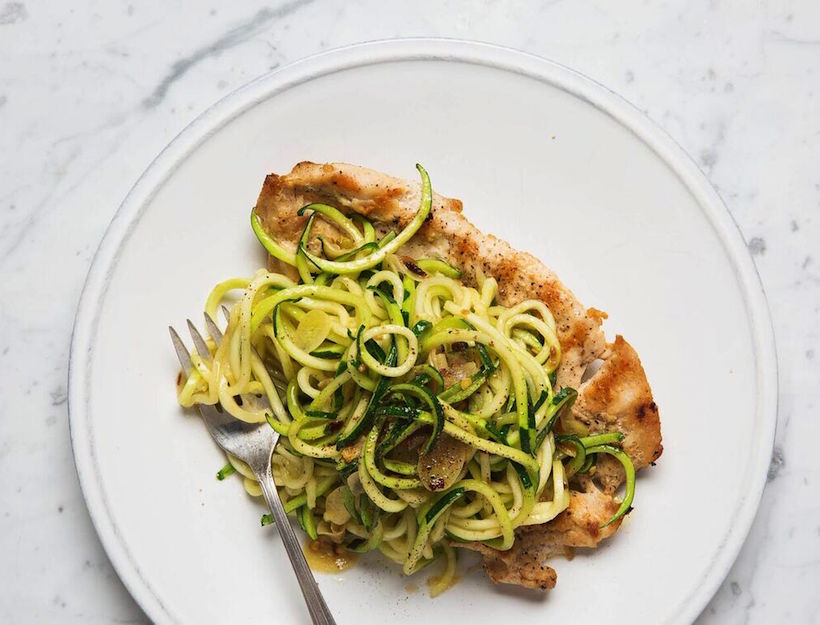 Chicken Paillard with Zucchini Noodles