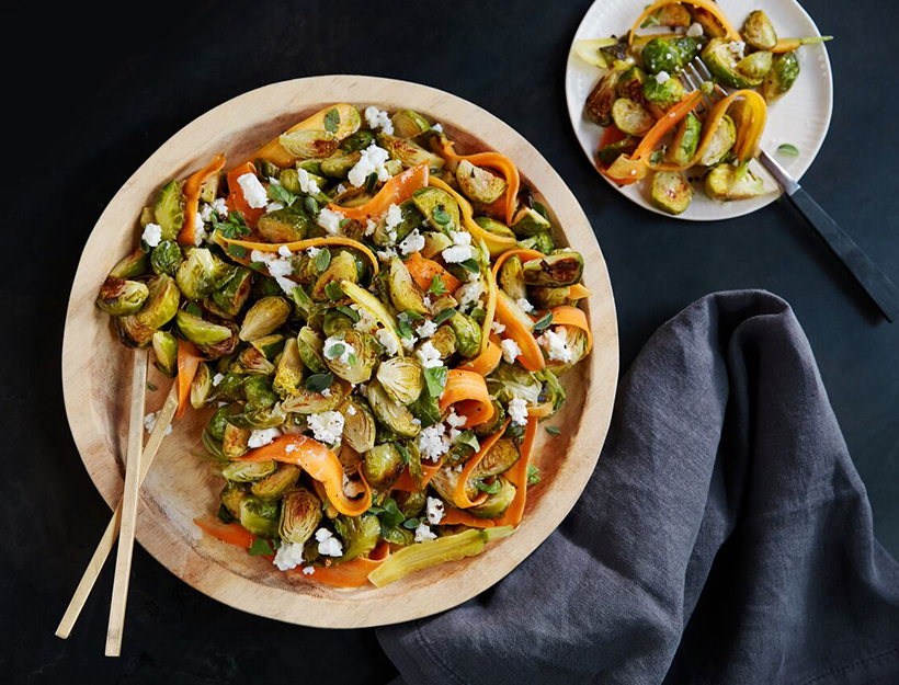Carrot & Brussels Sprout Salad with Feta Cheese