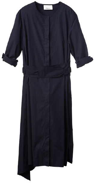 3.1 PHILLIP LIM Short Sleeve Dress with Belted Waist and Coy Back Opening