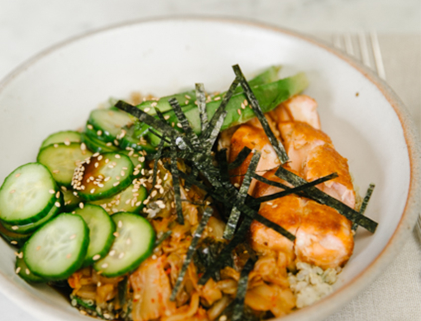 Pickles + Salmon Grain Bowl