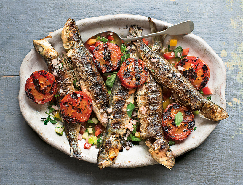 Grilled Sardines and Tomatoes with Crunchy Herb Dressing