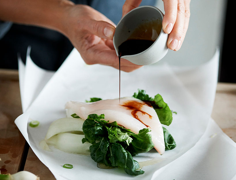 Asian-Steamed Halibut with Scallions & Bok Choy