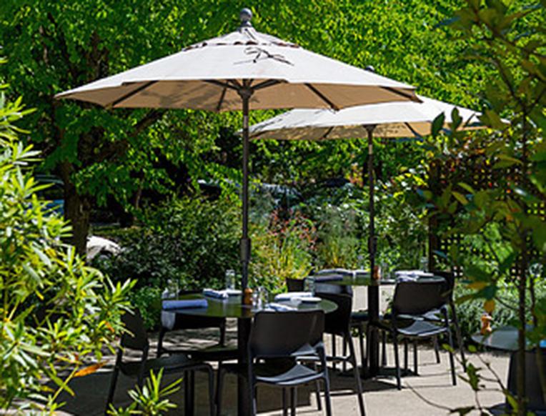 The outdoor patio at Castagna Cafe in Portland, Oregon