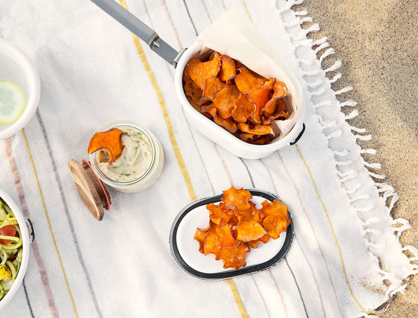 Sweet Potato Chips with White Bean & Basil Dip
