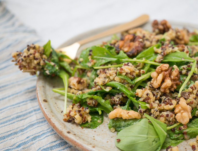 Honeyed Jalapeño Lime Quinoa Arugula Salad