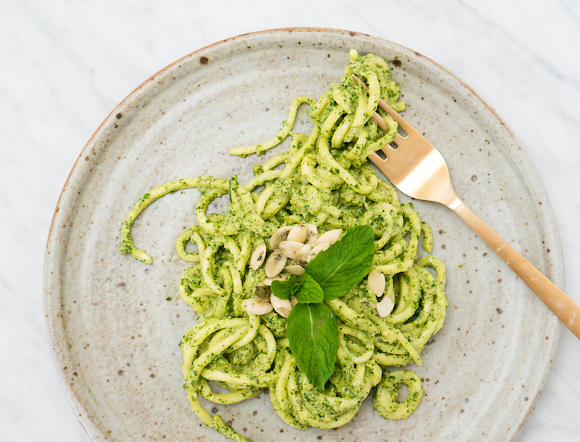 Spiralized Zucchini Noodles with Mint Parsley Pepita Pesto