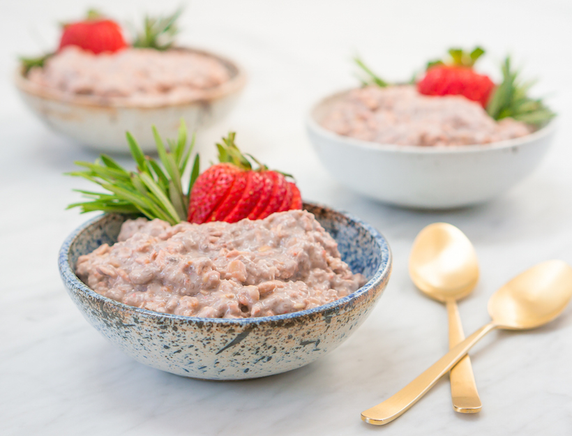 Strawberry Rosemary Overnight Chia Oatmeal