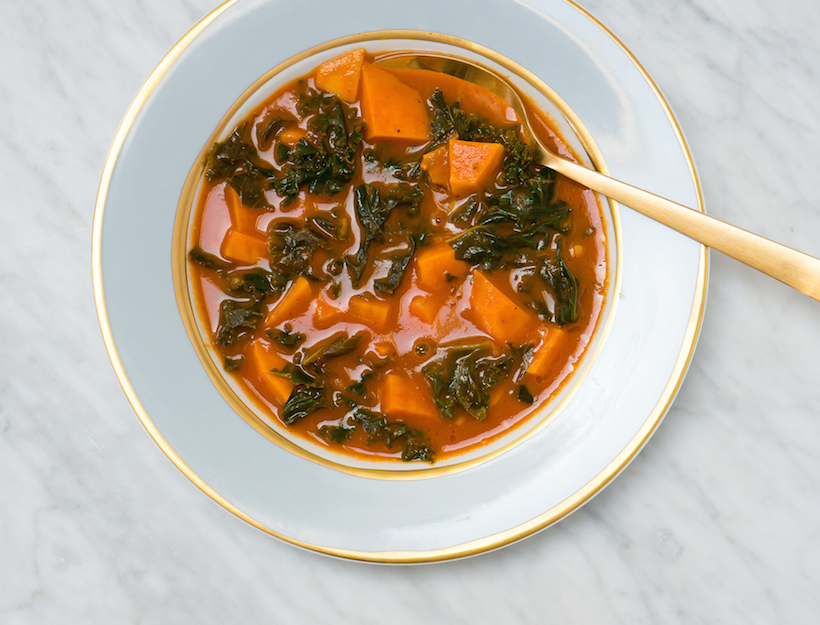 Harissa Spiced Sweet Potato Soup and Kale