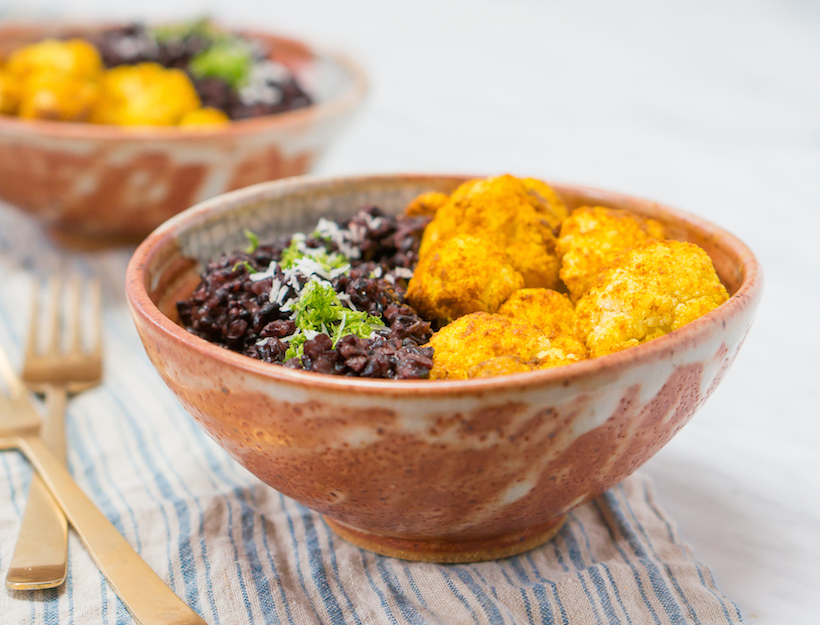Turmeric-Roasted Cauliflower with Coconut Lime Forbidden Rice