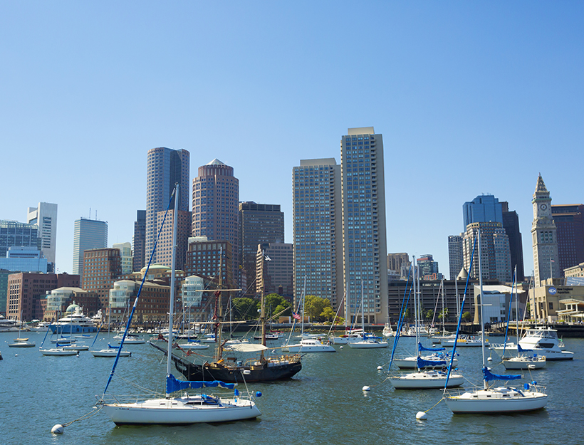 Boston skyline as seen from the bay; Boston, Massachusetts, United States of America