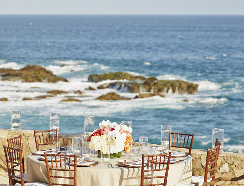 Wedding tables overlooking ocean